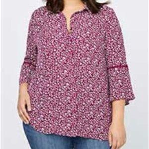 Pink little flour crepe blouse L/XL